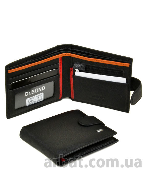 Кошелек Classik-color кожа DR. BOND MS-23 black-red-orange